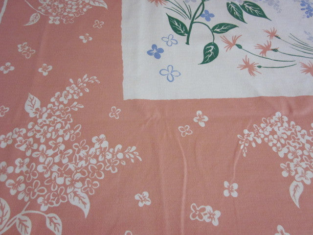 Blue Green Lilacs on Pink Floral Vintage Printed Tablecloth (68 X 53)