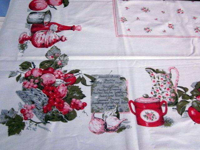 Pink Red American Dinner Food MWT Novelty Vintage Tablecloth (69 X 51)