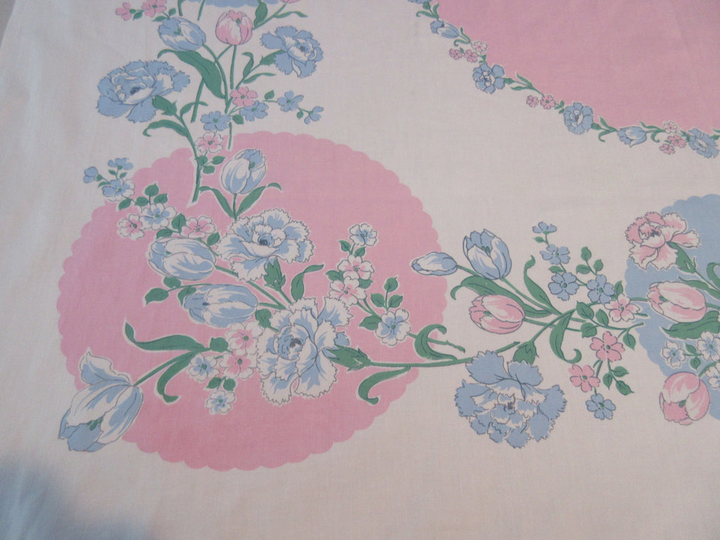 Pink Blue Pastel Tulips Carnations Floral Vintage Printed Tablecloth (52 X 48)