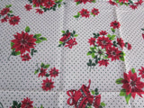 Christmas Poinsettia Polkadots MWT Vintage Printed Tablecloth (70 X 52)
