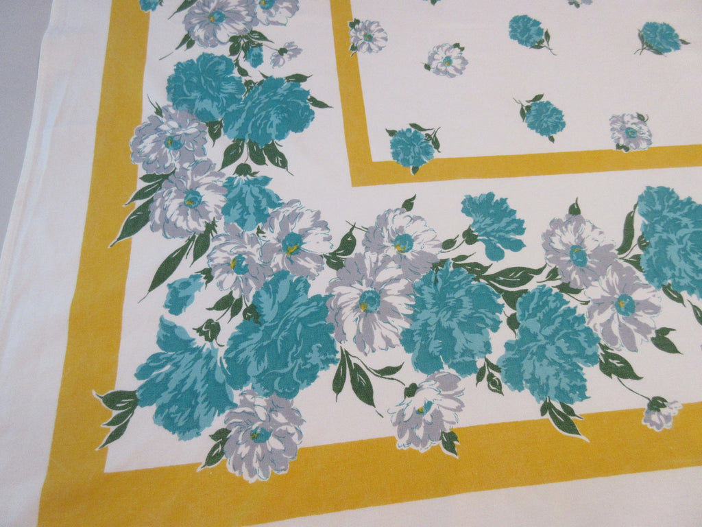 Teal Gray Carnations Daisies on Gold Floral Vintage Printed Tablecloth (61 X 53)
