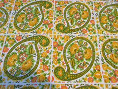 TERRY 70s Yellow Floral Paisley Picnic MWT Vintage Printed Tablecloth (70 X 50)