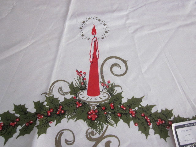 ROUND Christmas Candle NWT Vintage Tablecloth (58 inches ROUND)