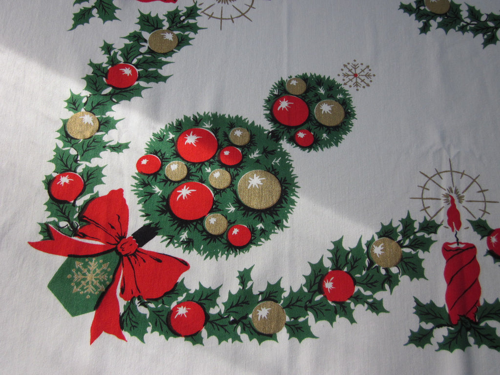 Christmas Candles Topiery NWOT Vintage Printed Tablecloth (53 X 46)