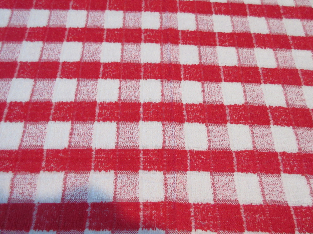CHP TERRY 70s Red White Plaid Novelty Picnic MWT Vintage Printed Tablecloth (75 X 51)