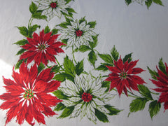 Larger Christmas Red Green Poinsettia Vintage Printed Tablecloth (78 X 62)