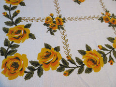 TERRY 70s Yellow Green Roses Floral Picnic MWT Vintage Printed Tablecloth (68 X 51)