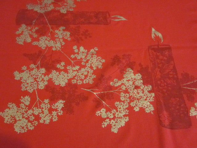 Red CAHP Christmas Candles Vintage Tablecloth (53 X 50)