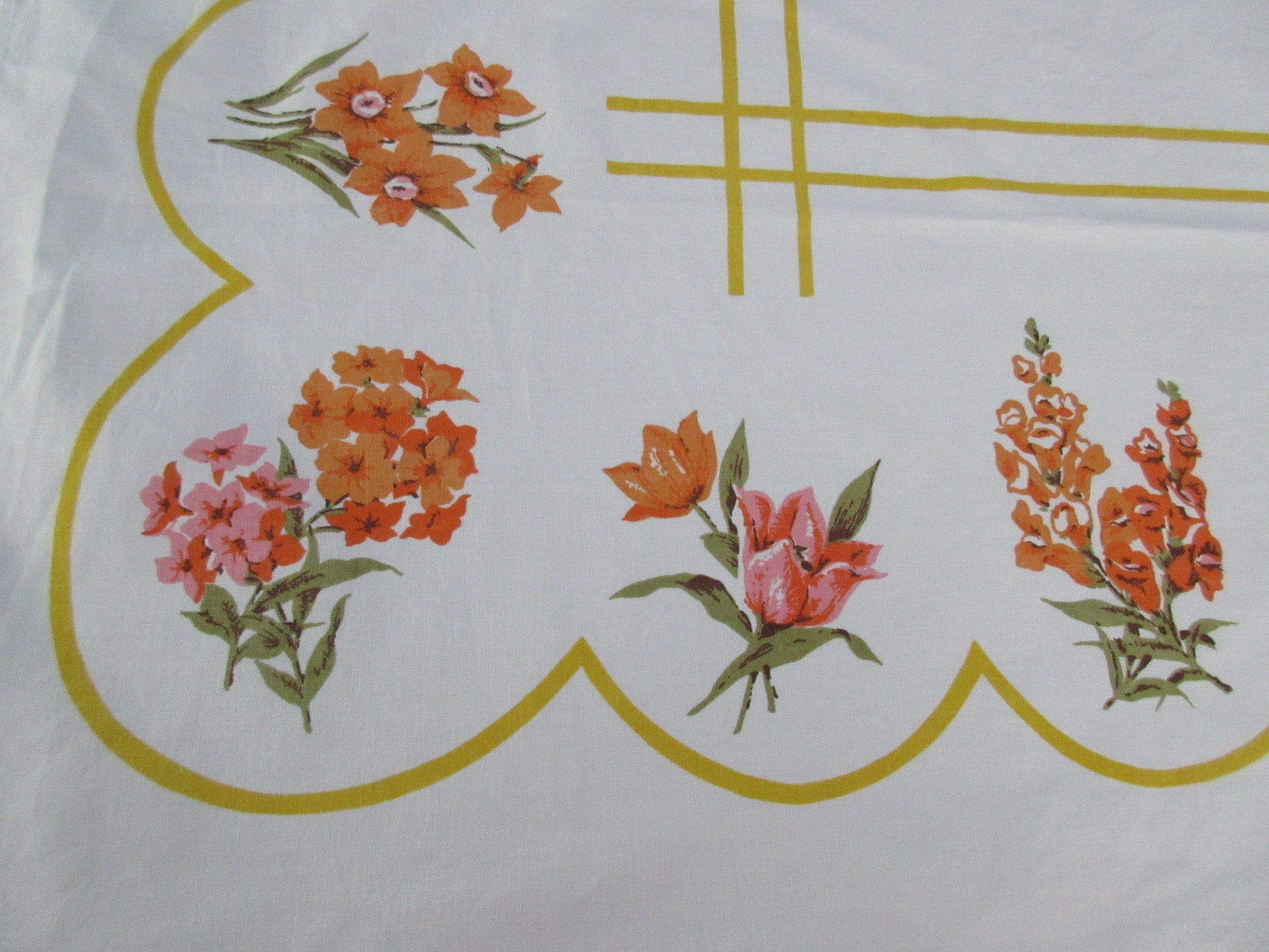Pink Orange Pansies Violets on Gold Floral Linen Vintage Printed Tablecloth (63 X 52)