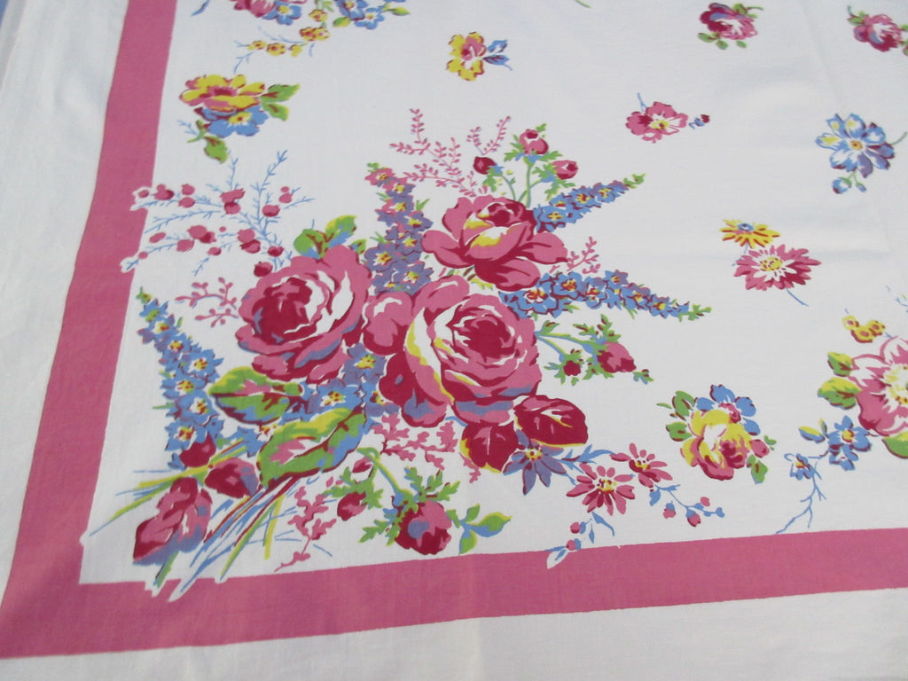 Roses Delphiniums on Pink Springmaid Floral Linen Vintage Printed Tablecloth (52 X 46)