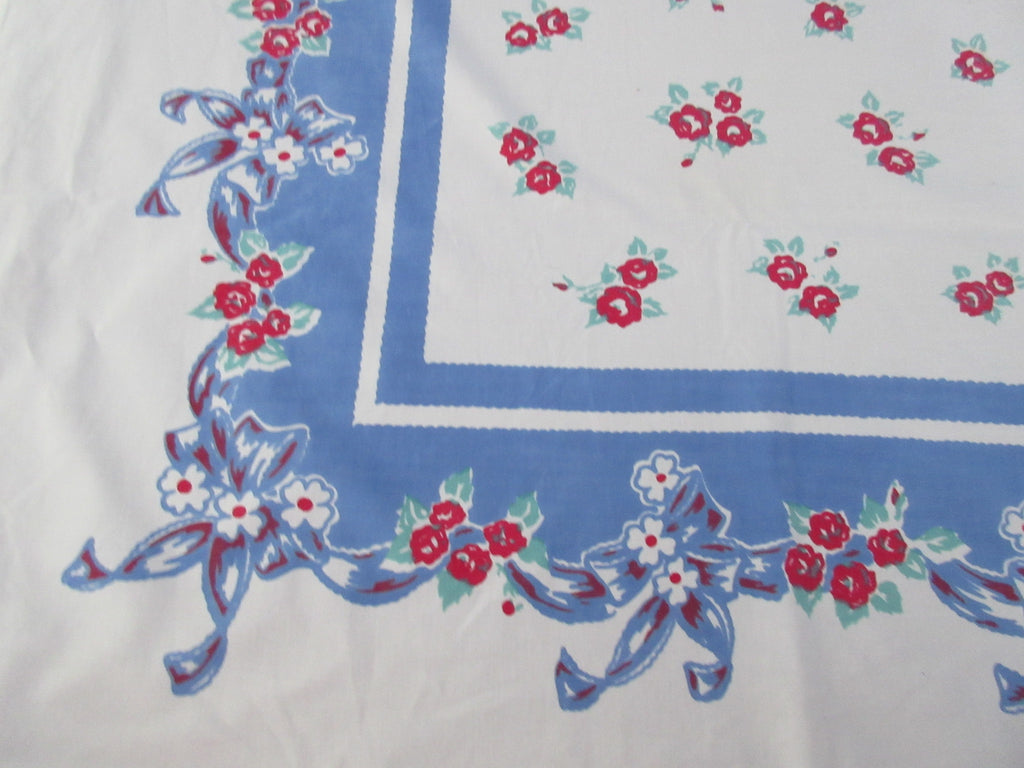 Red Blue Roses Bows Cutter? Floral Linen Vintage Printed Tablecloth (65 X 50)