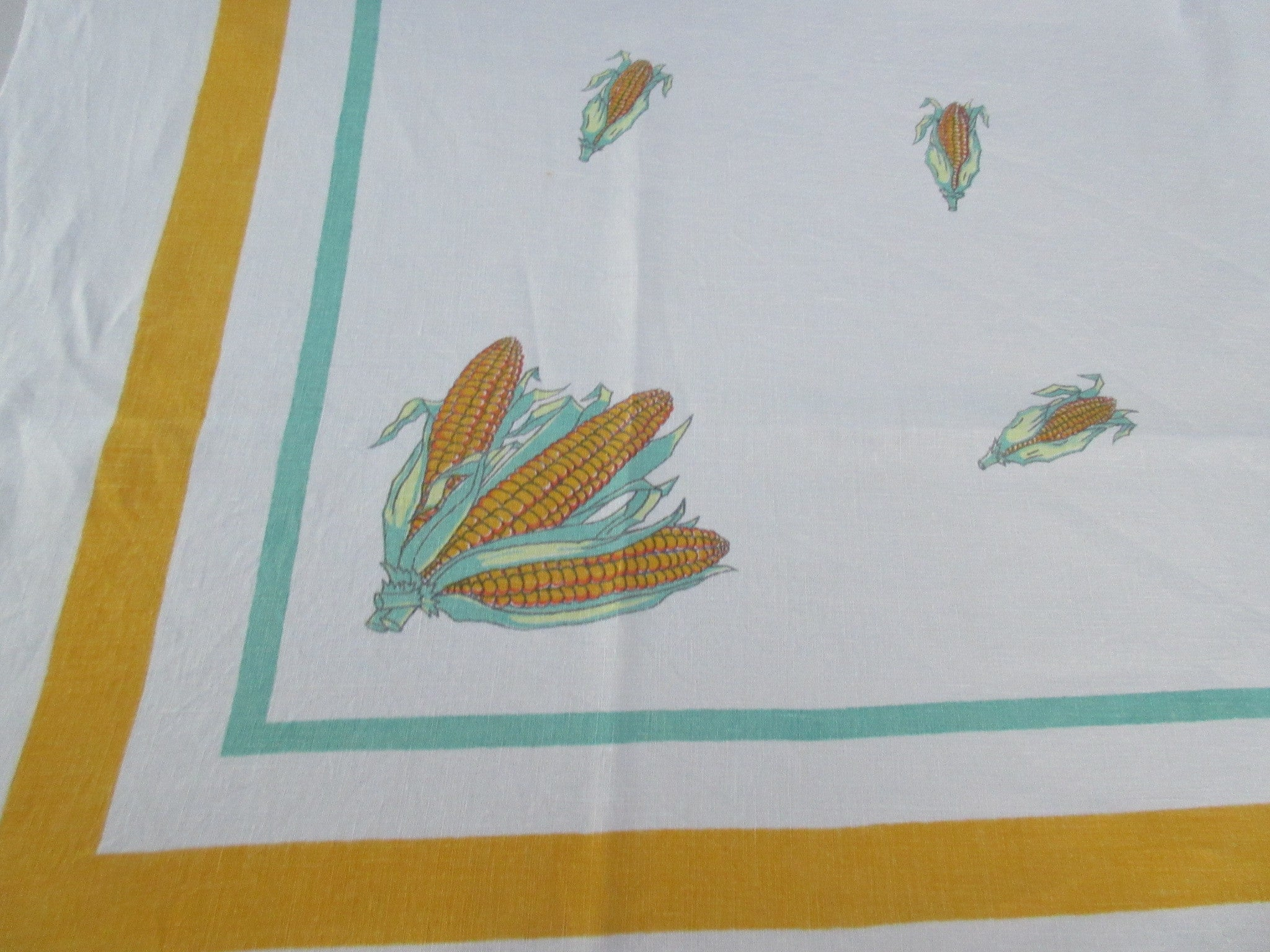 Rare Corn Green Yellow Linen Vegetable Vintage Printed Tablecloth (54 X 50)