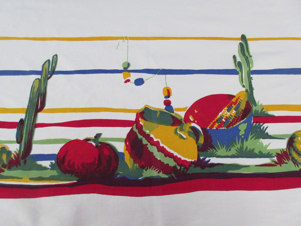 Large Wilendur Mexican Cactus Pots Novelty Vintage Printed Tablecloth (66 X 55)