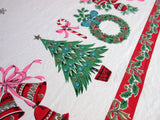 Blue Pink Icons SQUARE Christmas Vintage Printed Tablecloth (48 X 46)