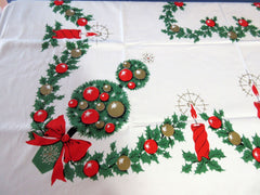 Christmas Topiary Candles MWT Vintage Printed Tablecloth (52 X 51)