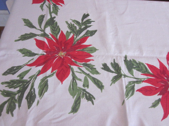 Vera Linen Christmas Poinsettia Cutter? Vintage Printed Tablecloth (82 X 57)
