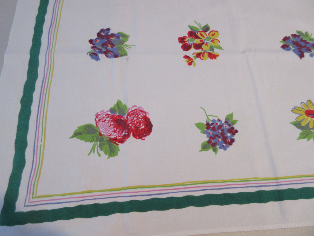 Wilendur Nosegays on Green Floral Vintage Printed Tablecloth (53 X 49)