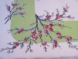 Red Apple Blossoms Pussy Willows on Lime Floral Vintage Printed Tablecloth (53 X 48)