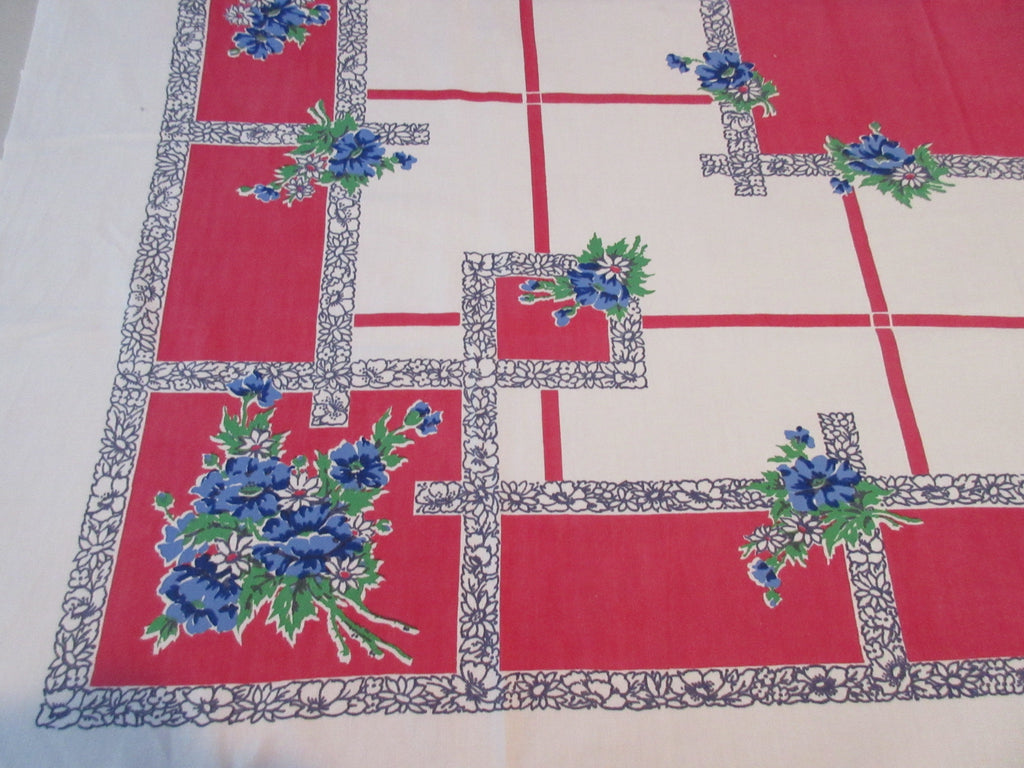 Blue Wild Roses on Red Patriotic Startex Floral Vintage Printed Tablecloth (54 X 46)