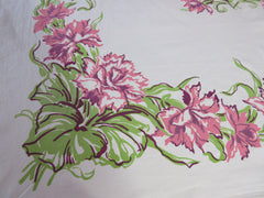 Pink Impressionist Carnations Floral Vintage Printed Tablecloth (49 X 46)
