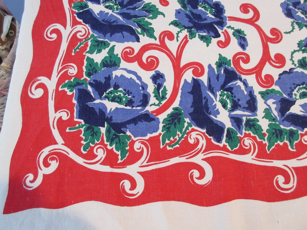 Big Blue Poppies on Red Patriotic Linen Floral Vintage Printed Tablecloth (75 X 61)
