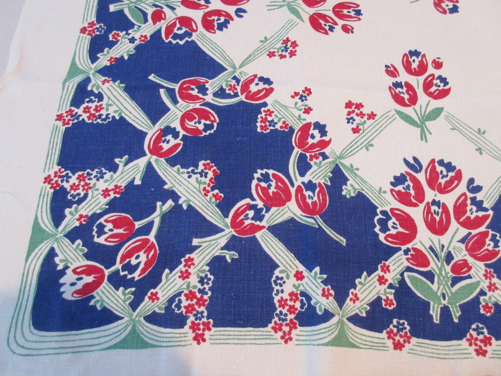 Red Green Tulips on Blue Patriotic Linen Floral Vintage Printed Tablecloth (50 X 47)