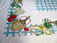 HTF Calaprint Italian Dinner CUTTER? Novelty Vintage Printed Tablecloth (52 X 45)