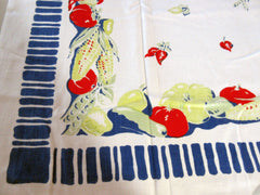 Unusual Primary Veggies on Cobalt Vegetable Vintage Printed Tablecloth (49 X 45)