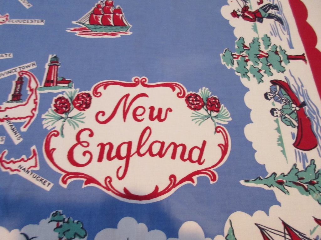 RWB Imperfect New England States Souvenir Novelty Vintage Printed Tablecloth (52 X 46)
