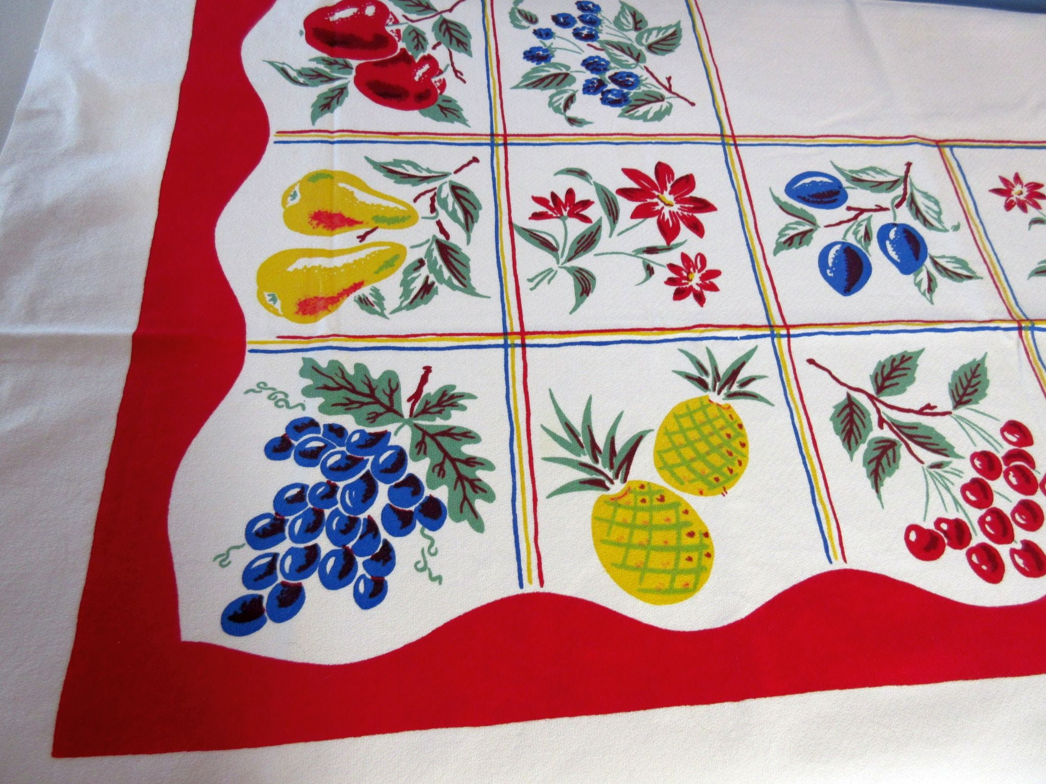 Bright Primary Fruit on Red Simtex Vegetable Vintage Printed Tablecloth (52 X 50)