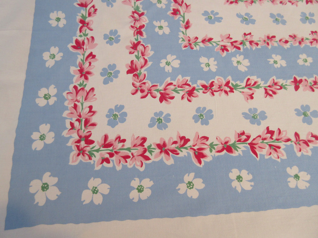 Pink Blossoms on Blue Callaway Rectangle Floral Vintage Printed Tablecloth (65 X 50)