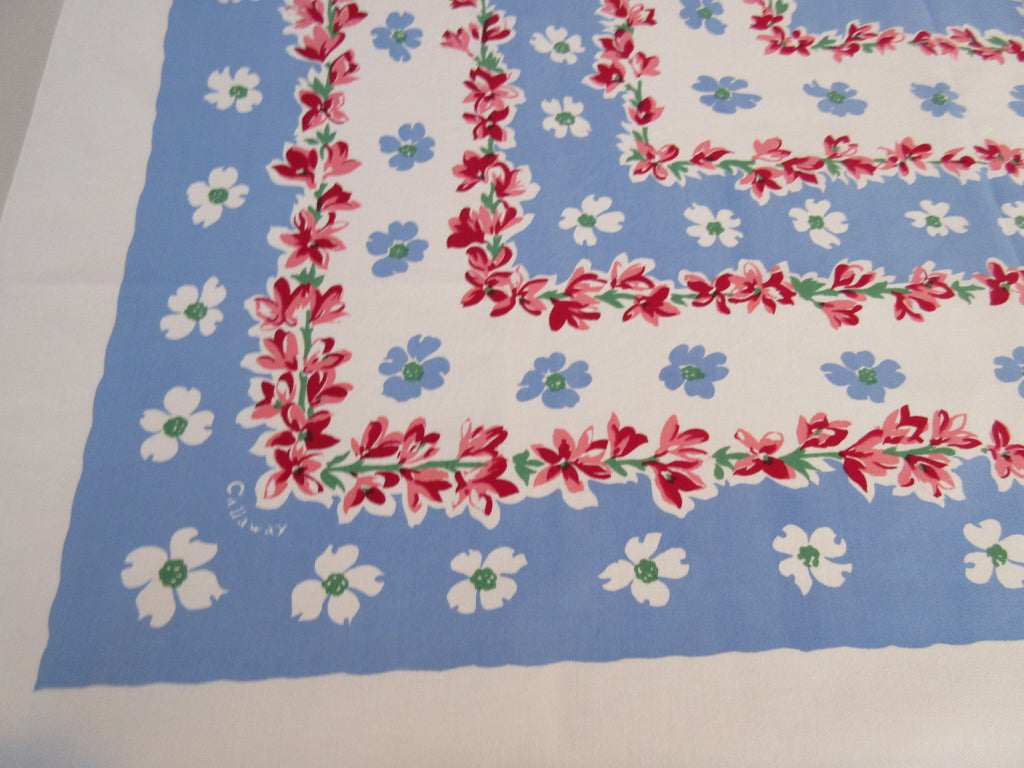 Pink Blossoms on Blue Callaway Square Floral Vintage Printed Tablecloth (50 X 48)