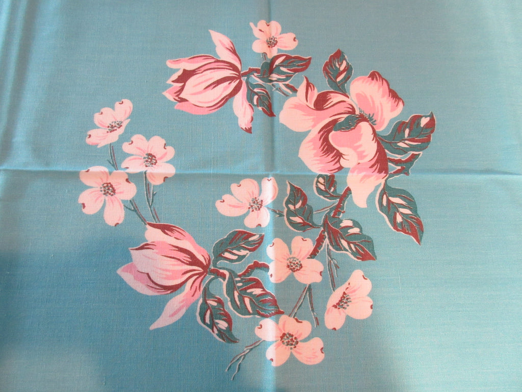 Pink Dogwood Magnolia on Aqua MWT Floral Vintage Printed Tablecloth (53 X 52)