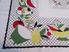 Bright Fun and Funky Food Novelty Vintage Printed Tablecloth (50 X 46)