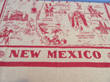 New Mexico NM Burlap State Souvenir Novelty Vintage Printed Tablecloth