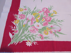 Wilendur Pink Green Iris on Red Floral Vintage Printed Tablecloth (53 X 48)