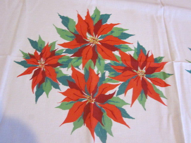 Christmas Poinsettias Vintage Printed Tablecloth (62 X 52)