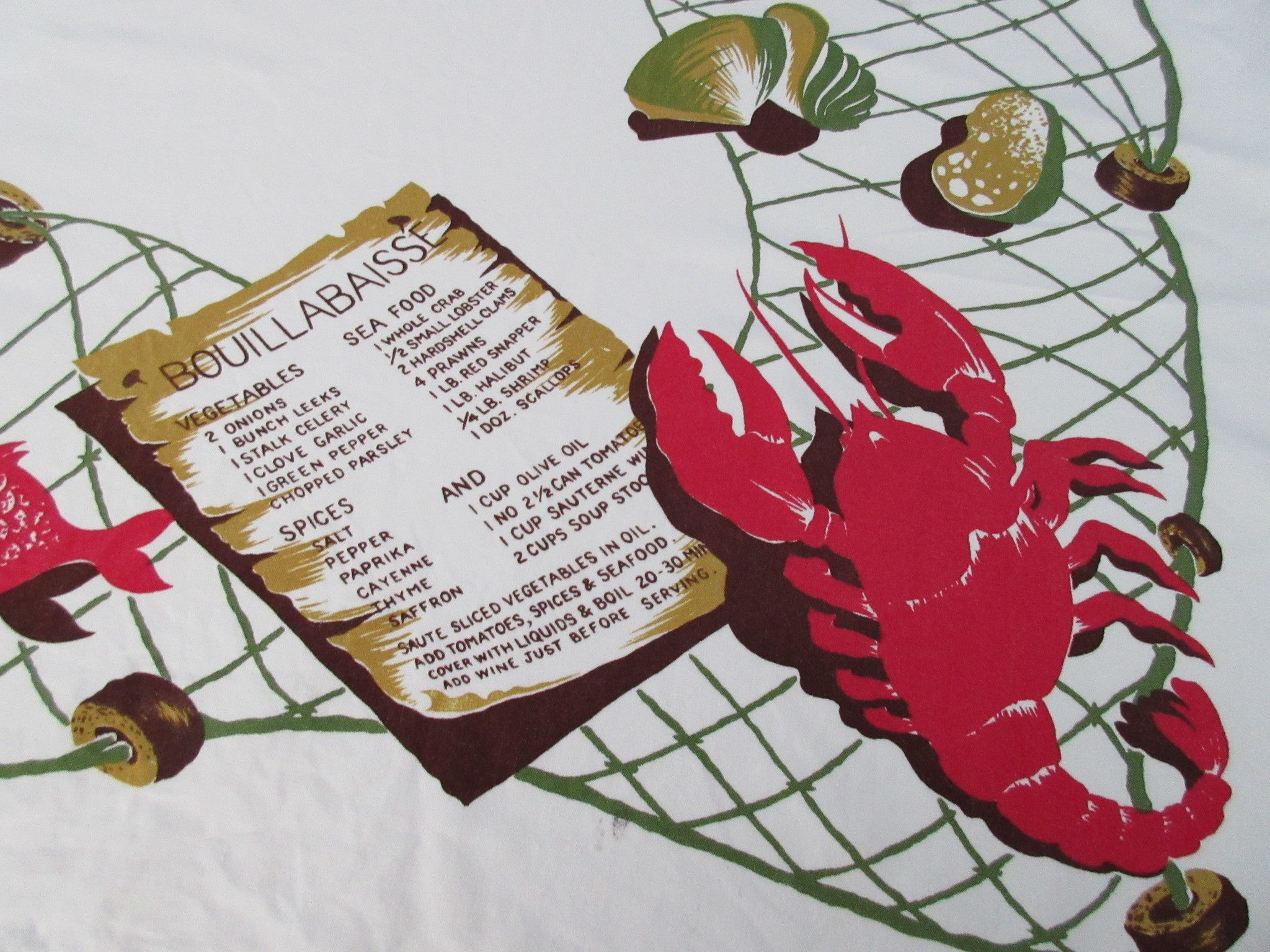 CHP Bouillabaisse Crabs Clams Cutter? Novelty Vintage Printed Tablecloth (43 X 38)