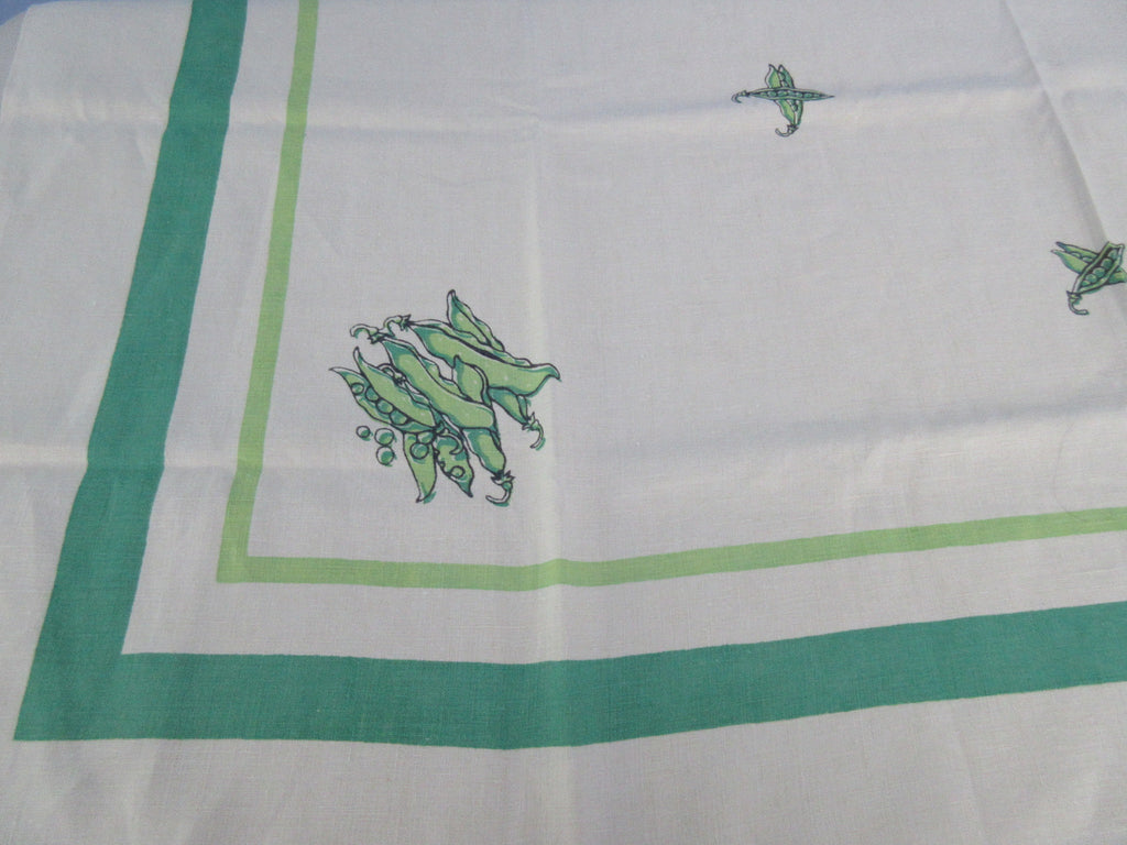 Rare Green Peas Peapods Victory Garden Linen Vegetable Vintage Printed Tablecloth (54 X 51)