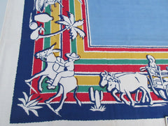 Mexican Fiesta on Blue Novelty MWT Vintage Printed Tablecloth (49 X 49)