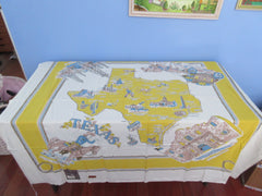 Yellow Texas State Souvenir Map Novelty MWT Vintage Printed Tablecloth (53 X 50)