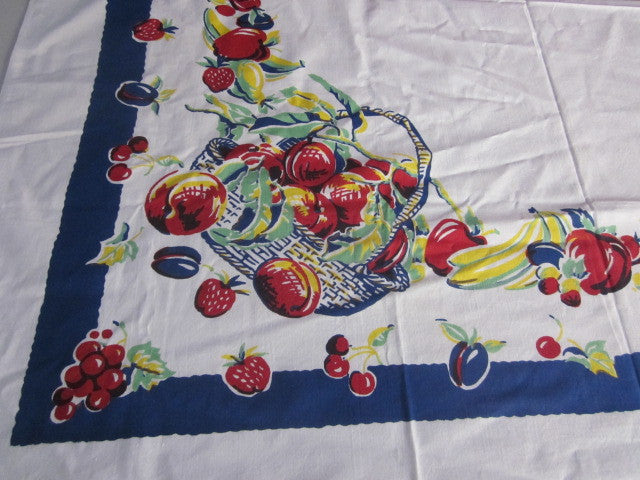 Primary Fruit Basket on Blue Vintage Printed Tablecloth (49 X 48)