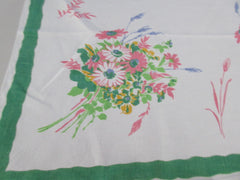 Pastel Daisies on Green Pride of Flanders Linen Floral Vintage Printed Tablecloth (53 X 51)