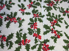 RECTANGLE Wilendure Holly Christmas MWT Vintage Printed Tablecloth (68 X 54)