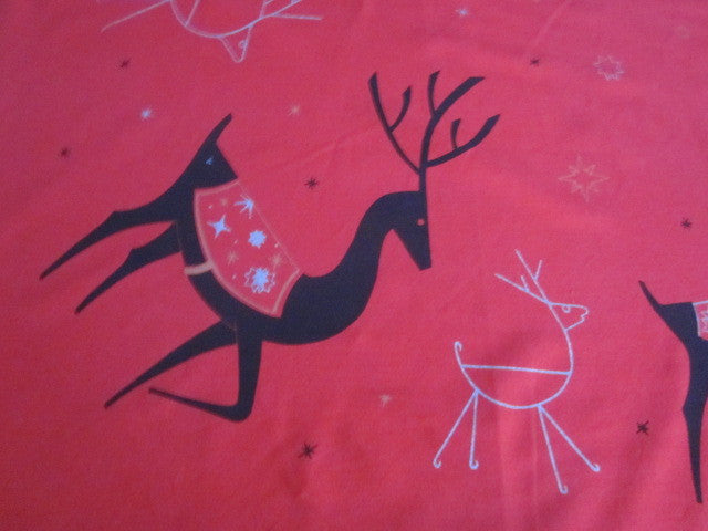 CHP Red Reindeer Christmas Vintage Printed Tablecloth (65 X 54)