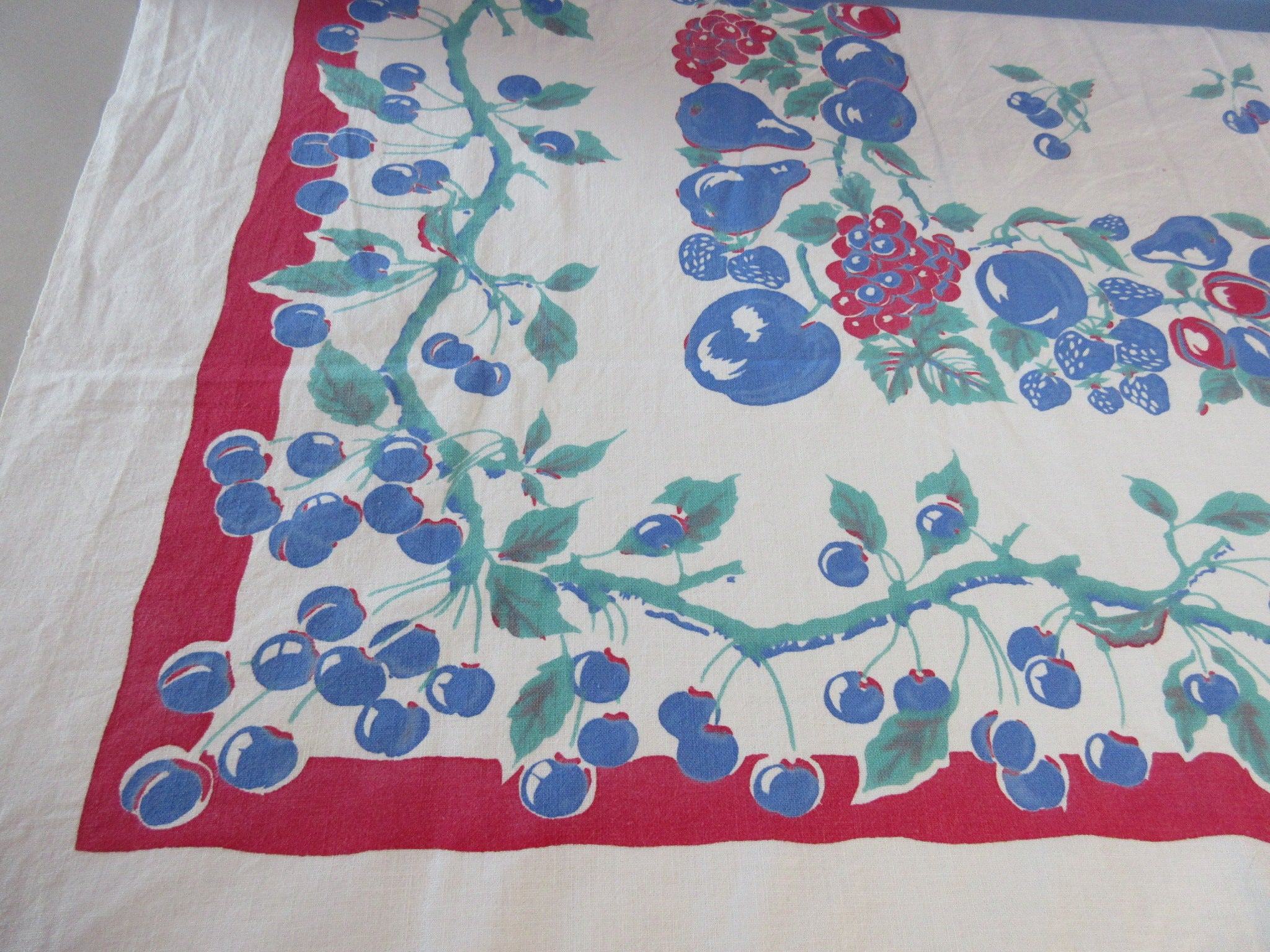 Shabby Blue Cherries Fruit Cutter? Vintage Printed Tablecloth (50 X 45)