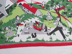 Family Picnic Town Church Bright Novelty Vintage Printed Tablecloth (51 X 46)