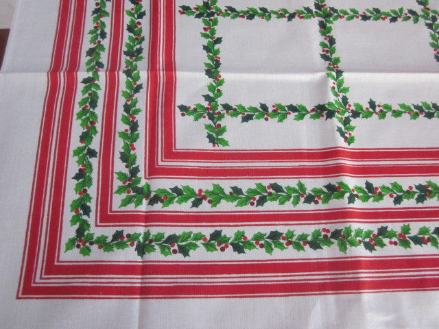 Christmas Holly Stripes MWT Vintage Printed Tablecloth (67 X 51)