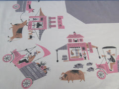 Cartoon Farmer's Market Pigs Cows Pink Gray Novelty Vintage Printed Tablecloth (54 X 49)