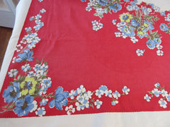Shabby Blue Flowers on Red Floral Vintage Printed Tablecloth (67 X 53)